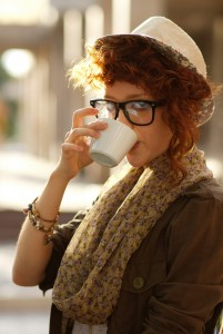 Hipster drinking coffee